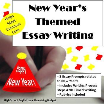 New Year's Themed Essay Writing, w Rubrics & Printables