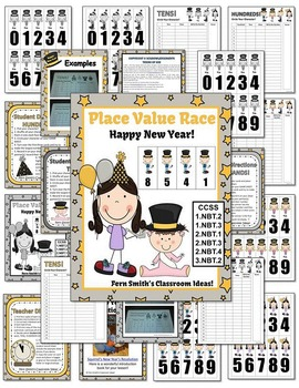 New Years Celebration Place Value Race Center Game