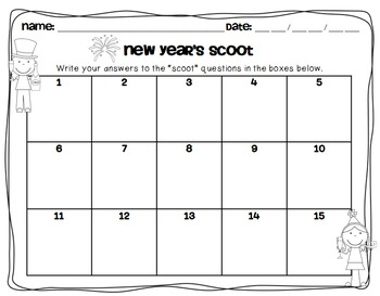 """FREEBIE: New Year's Themed- """"Scoot"""""""