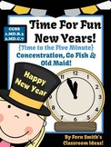 New Years Telling Time Old Maid, Concentration and Go Fish Center Games