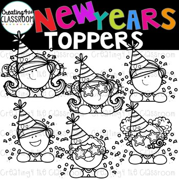 New Years Toppers Clipart  {New Years Clip art}