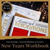 New Years WORKBOOK 2019: Goal setting & growth mindset New Years Activities 6-12