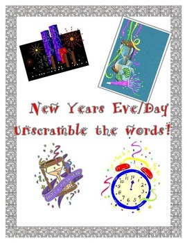 New Years Word Jumble, Unscramble these New Years Related Words