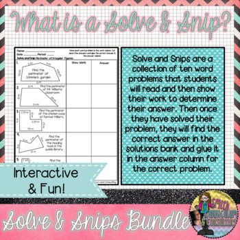 New Year Math Activity | Solve and Snip® | Math Review Activity for 5th