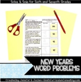 New Years Math Activity | Solve and Snip® | Math Review Activity for 6th & 7th