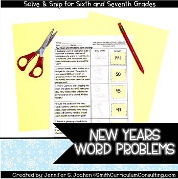 New Year Math Activity | Solve and Snip® | Math Review Activity for 6th & 7th