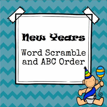 New Years Word Scramble and ABC Order Cut and Paste