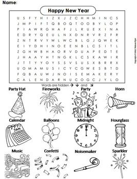 The New Year 2019 Activity Color In Word Search By Science Spot