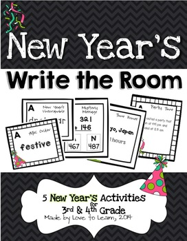 New Year's Write the Room - 5 Activities for 3rd & 4th Grade