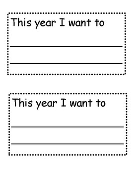 New Years Writing Craftivity - Goal Writing
