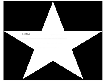 New Year's Writing Star-Shaped (In 2017, I will...)