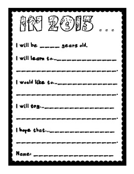 New Year's Writing Packet