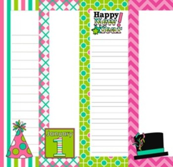 New Year's Writing Papers - 3 Styles - (7 1/2 x 10)