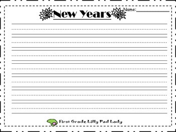 New Years Writing Templates