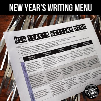 New Year's Writing for Teens: Choice Menu with 40 Prompts {Updated 2017}
