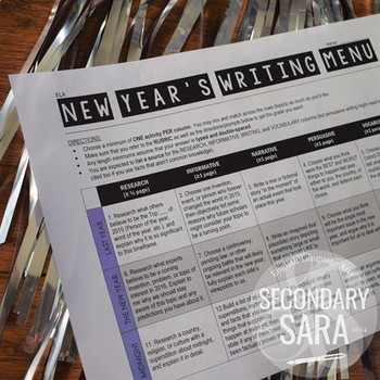 New Year's Writing for Teens: Choice Menu with 40 Prompts {Updated 2017-18}