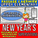 New Year's: Reading Passage and Questions Activity for INTERACTIVE NOTEBOOKS