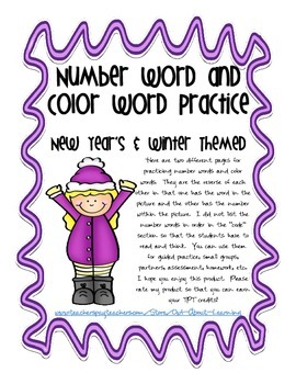 New Years and Winter Themed Number and Color Words Practic