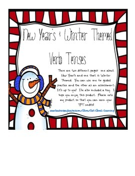 New Year's and Winter Themed Verb Tenses