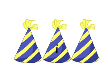 New Years vowel party hats
