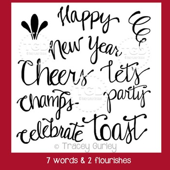 New Year's word art, New Year's typography Tracey Gurley Designs