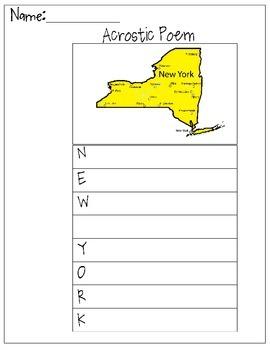 New York Acrostic Poem