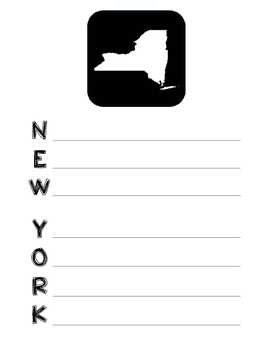 New York State Acrostic Poem Template, Project, Activity, Worksheet