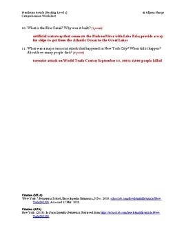 New York Article (Reading Level 1) Comprehension Worksheet
