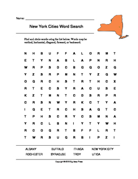 New York Cities Word Search (Grades 3-5)