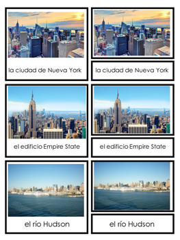New York City 3-part Cards in English and Spanish