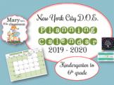 New York City DOE Planning Calendar 2018 to 2019