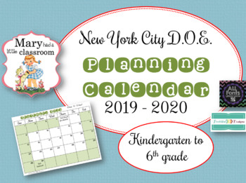 New York City DOE Planning Calendar 2019 to 2020 by Mary ...