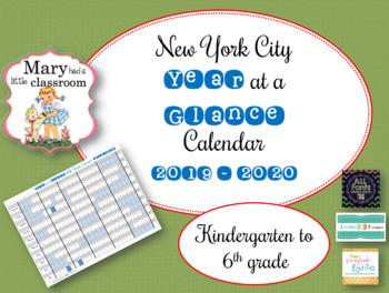 New York City DOE Year at a Glance Calendar Freebie K - 6 : 2016  - 2017