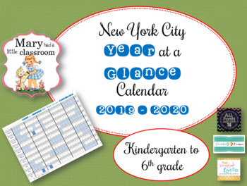 New York City School Calendar 2014 To 2019 New York City DOE Year at a Glance Calendar Freebie K   6 : 2018