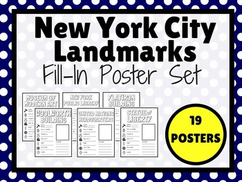New York City Landmarks Fill In POSTERS