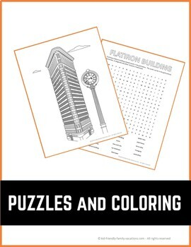 New York City - Flatiron Building - History, Fun Facts, Coloring Page & Puzzle