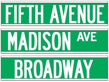 New York City Street Sign Decoration