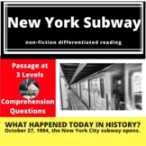 New York City Subway Differentiated Reading Passage, October 27