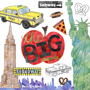 New York City Watercolor Clipart