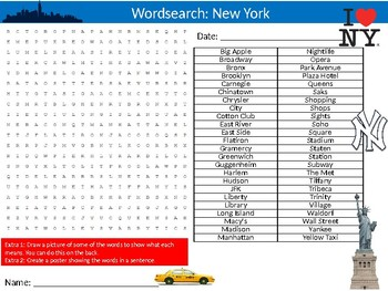 New York City Wordsearch Puzzle Sheet Keywords America Cities Geography