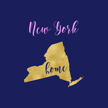 New York Clipart, USA State Vector Clipart, New York Home, Gold US Clipart