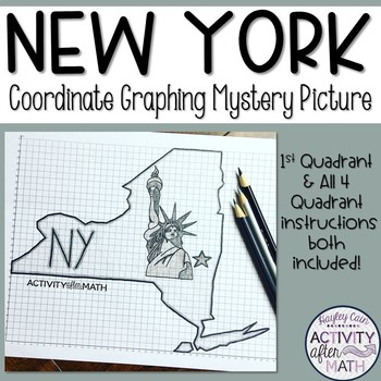 New York Coordinate Graphing Mystery Picture 1st Quadrant & ALL 4 Quadrants