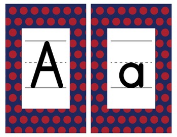 New York Giants Inspired Red Blue & White Alphabet Cards for Word Walls-Editable