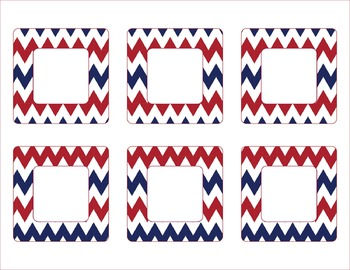 New York Giants Inspired Red, Blue, and White Chevron Calendar Pieces-Editable