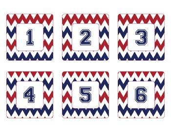 New York Giants Inspired Red, Blue, and White Chevron Cale