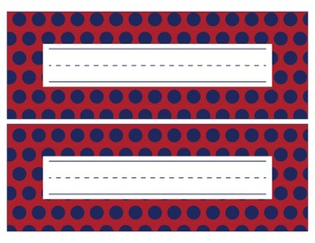 New York Giants Inspired Red, White, & Blue Editable Name Plates/Word Wall