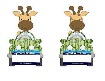 New York Giraffe in a Car: Name tag or desk plate for jungle or safari theme