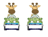 New York Giraffe in a Car: Name tag or desk plate for jung