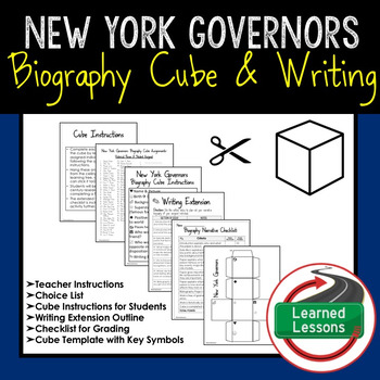 New York Governors Activity Biography Cube with Writing Extension