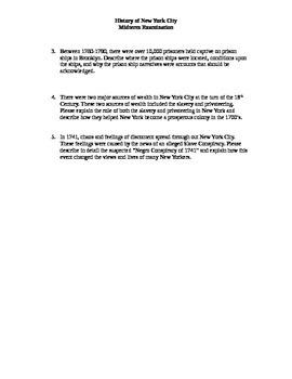 New York History Elective Course Midterm/Final Exam #1